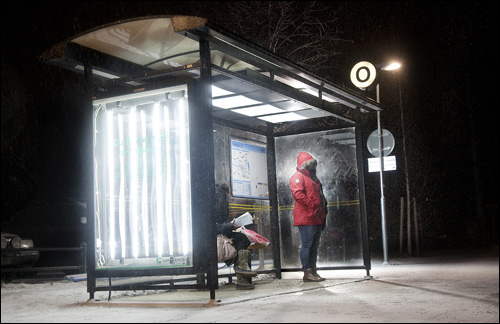 Light Therapy from Umea, Sweden: Repurposing the city's bus stops as light therapy stations.