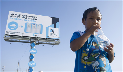 UTEC Water Billboard from Lima, Peru: harvesting the air's humidity for clean drinking water in one of the world's most arid cities.